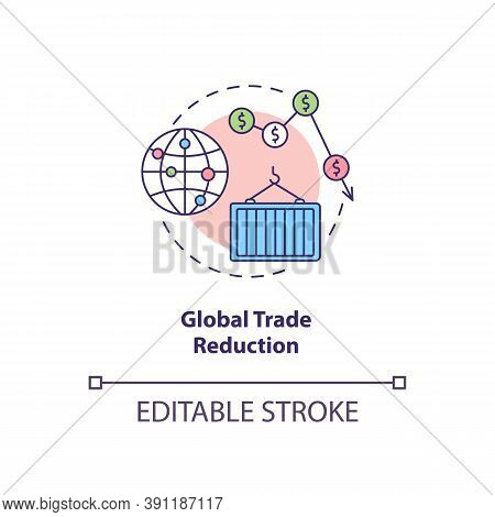 Global Trade Reduction Concept Icon. Reverse Globalization Trend Idea Thin Line Illustration. World