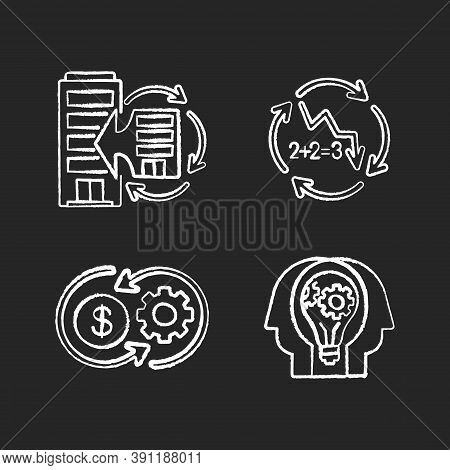 Business Synergy Chalk White Icons Set On Black Background. Corporate Expansion. Company Merge. Decl