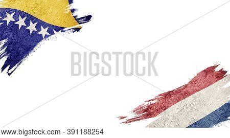 Flags Of Bosnia Herzegovina And Nederland On White Background