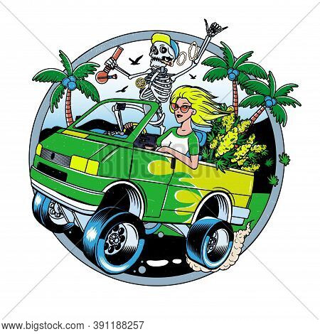 Skeleton With Jamb And Blondie Girl Driving Van With Cannabis Bushes. Poster Or T-shirt Designs. Vec