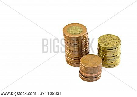 Czech Money, Columns Of Coins,  Isolated On White Background. 50 Crown Coins, 20 Crown Coins, 10 Cro