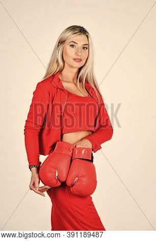 Sporty Lifestyle. Self Improvement. Sporty Girl Red Clothes Boxing Gloves. Gym And Workout. Fitness