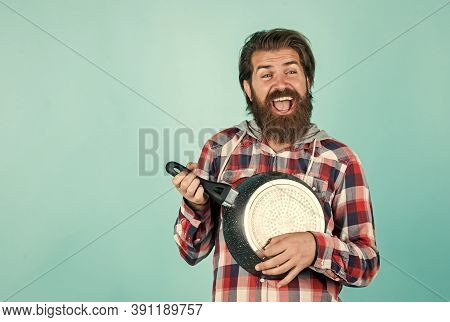 Cooking Utensils Vessels. Kitchen Advertising. Man With Saucepan. Man Hold New Brand Pan. Shopping K