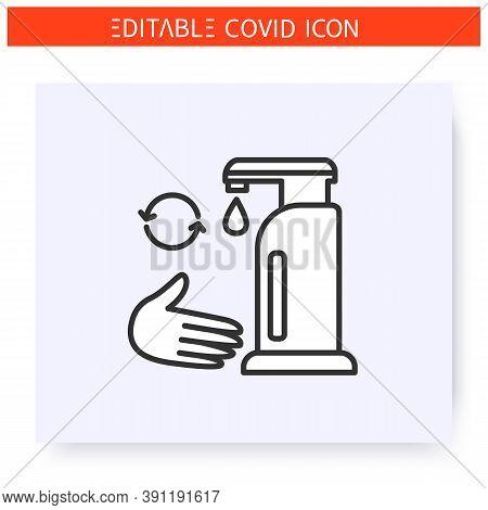 Sanitizer Reuse Line Icon. Coronavirus Home Testing Tutorial. Sanitizer Dispenser. Hand Disinfection
