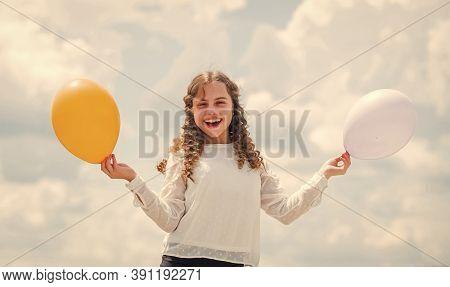 Creative Idea. Happy Birthday Party. Small Girl With Party Balloon. Summer Holidays And Vacation. Ch