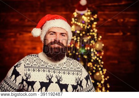 Join Party. Cool Santa Claus. Naughty Is New Nice. Man With Beard Christmas Decorations Background.