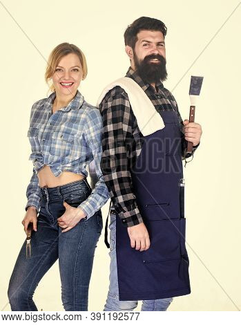 Family Getting Ready For Barbecue. Bearded Hipster And Girl Hold Cooking Grilling Utensils White Bac