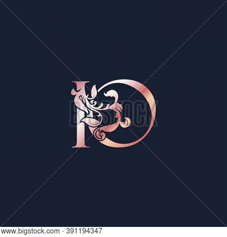 Initial Logo Letter I And O, Io, Rose Gold Color Luxury Style Vector Design Template.