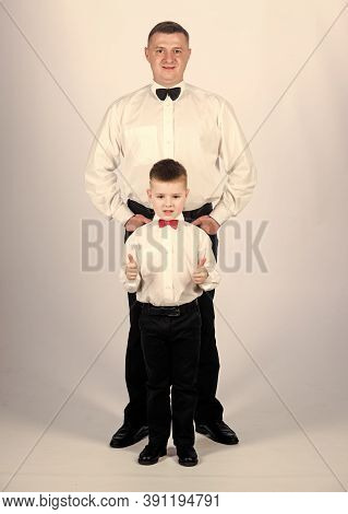 Art Director. Father And Son In Formal Suit. Little Boy With Dad Businessman. Family Day. Esthete. M