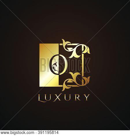 Luxury  Logo Letter O Golden Square  Vector Square Frame Design Concept.