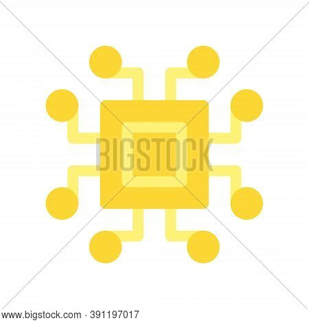 Cryptocurrency Microprocessor Icon. Cpu Chip For Bitcoin Mining. Flat Design Style.