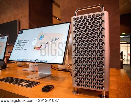 Paris, France - Oct 23, 2020: New Powerful Apple Computers Mac Pro Cheese Grater With The Pro Displa
