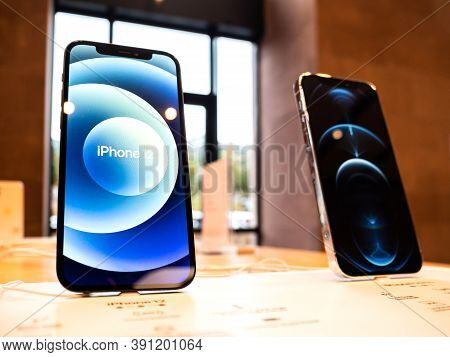 Paris, France - Oct 23, 2020: Hero Object Of The New Iphone 12 And Iphone 12 Pro On Display During L