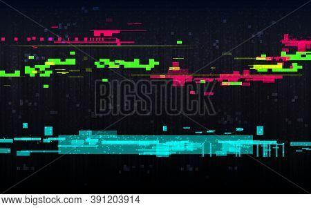 Glitch Digital Distortion Template. Random Color Lines. Abstract Color Pixels On Black Backdrop. Err