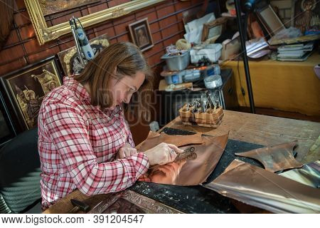 Designing Copper Utensils, The Age Old Art Of Crafting Copper Wares. Master Craftsman Making Copper