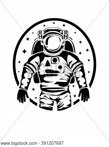 The Silhouette Of An Astronaut Spaceman In A Spacesuit In Outer Space.flying Into Space On A Rocket.