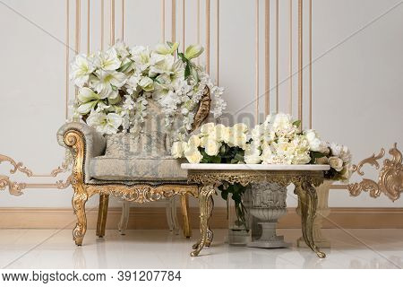 Luxurious Vintage Interior In The Aristocratic Style With Elegant Armchair And Flowers. Retro, Class