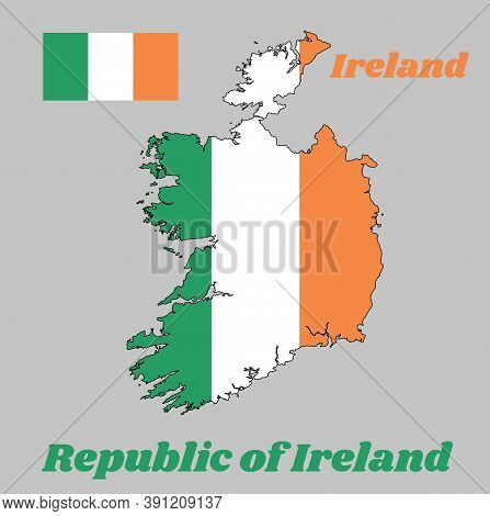 Map Outline And Flag Of Ireland, A Vertical Tricolor Of Green, White And Orange. With Name Text Repu