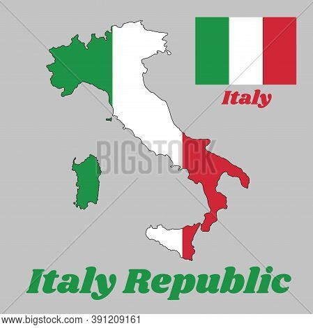 Map Outline Country Shaped Like A Boot And Flag Of Italy, It Is A Vertical Tricolor Of Green, White