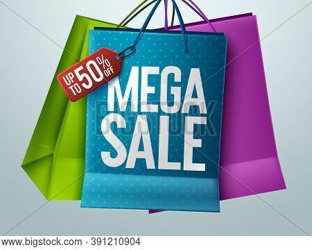 Mega Sale Vector Banner Concept Design. Mega Sale Text With 50% Off Price Tag In Paper Bag Elements