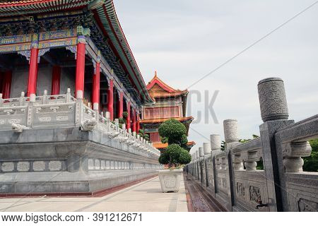Nonthaburi,thailand July 10, 2017: Constricted Of Main Building And Stone Carving Fence Chinese Styl