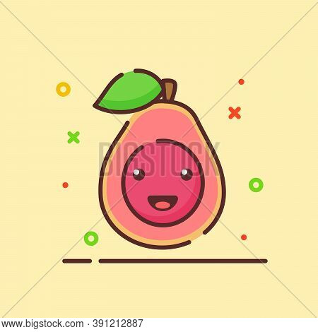 Guava Cute Mascot Face Emotion Happy Fruit With Color Flat Cartoon Outline Style