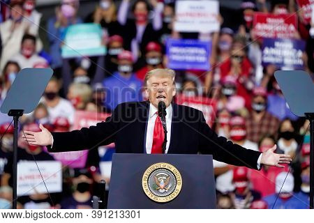 President Donald Trump Wraps Up His Speech At A Campaign Rally At Fayetteville Regional Airport, Sat