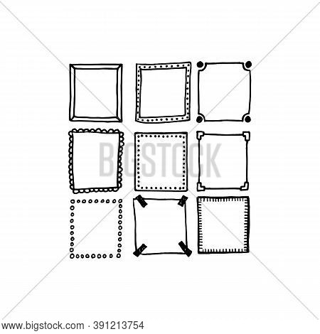 Doodle Frames Set On White Background. Sketched Hand Drawn Square Shapes In Different Styles Borders