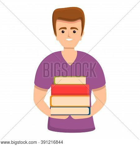 Student With Books Icon. Cartoon Of Student With Books Vector Icon For Web Design Isolated On White