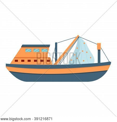 Marine Fishing Vessel Icon. Cartoon Of Marine Fishing Vessel Vector Icon For Web Design Isolated On