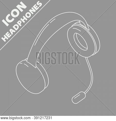 Headphones With Microphone. Isometry 3d Line Icon. Support Service Vector Grayscale Illustration.