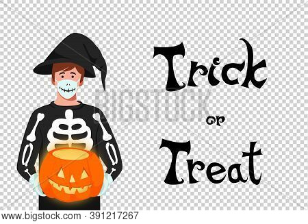 Men Wearing Medical Mask , Halloween Costume , Holding Pumpkins   Isolated  On Png Or Transparent  B