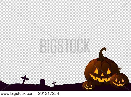 Happy Halloween  Party Background With 3 Pumpkin Basket, Family Set, Ghost  Isolated  On Png Or Tran