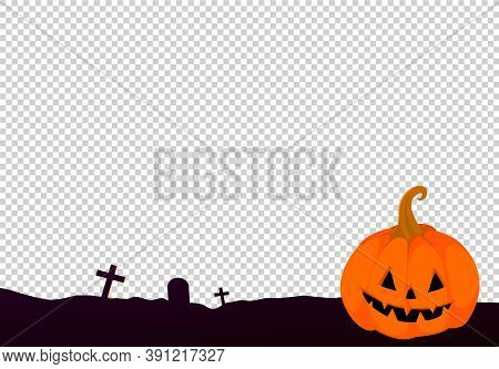 Happy Halloween  Party Background With Pumpkin, Ghost   Isolated  On Png Or Transparent  Background,