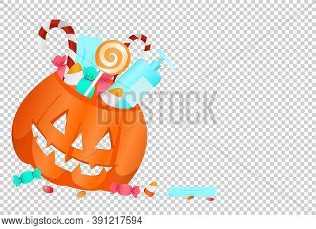 Pumpkin Basket ,candies, Sweets, Medical Mask, Alcohol Gel,  Isolated  On Png Or Transparent  Backgr