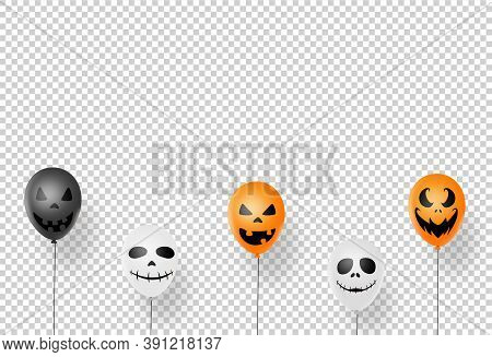 Halloween Party  Background With  Scary Black, White, Orange Air Balloons Isolated  On Png Or Transp