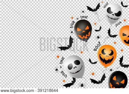 Halloween Party  Banner ,scary Balloons, Bat,spider, Spider Web , Png Or Transparent , Space For Add
