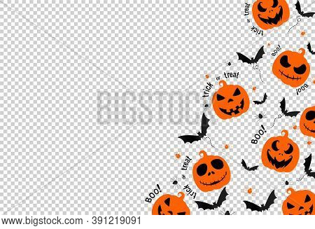 Halloween Party Banner , Scary Pumpkin Face , Bat,spider,  Isolated  On Png Or Transparent  Backgrou