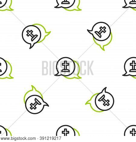 Line Man Graves Funeral Sorrow Icon Isolated Seamless Pattern On White Background. The Emotion Of Gr