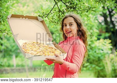 Little Girl Eating Pizza. Pizza Delivery. Unhealthy And Healthy Food. Happy Childhood. Child Feel Hu