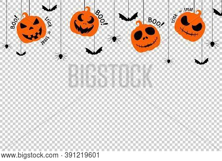 Halloween Party  Background With Scary Pumpkin Face , Bats, Spiders, Boo, Trick Or Treat,  Hanging F
