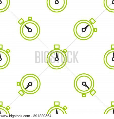 Line Stopwatch Icon Isolated Seamless Pattern On White Background. Time Timer Sign. Chronometer Sign
