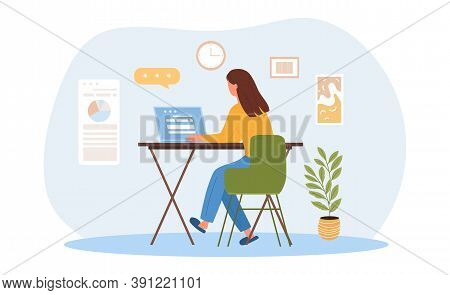 Telecommuting Or Remote Work Concept With A Girl Working On A Laptop While Sitting At Home. Flat Car