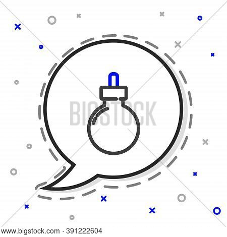Line Bomb Ready To Explode Icon Isolated On White Background. Happy Halloween Party. Colorful Outlin