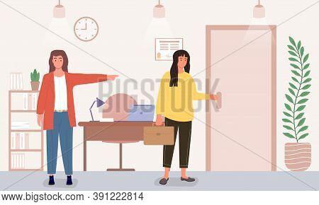 Dismissal Of An Employee Concept. The Boss Kicks The Employee Out Of The Office. Flat Cartoon Vector