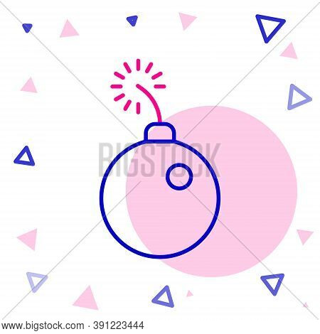 Line Bomb Ready To Explode Icon Isolated On White Background. Colorful Outline Concept. Vector