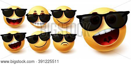 Emoji Vector Set. Emoji Character Wearing Glasses With Different Facial Expression Like Cute, Naught