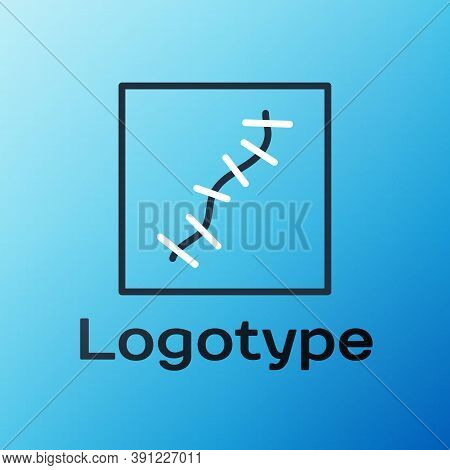 Line Scar With Suture Icon Isolated On Blue Background. Colorful Outline Concept. Vector