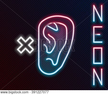 Glowing Neon Line Deafness Icon Isolated On Black Background. Deaf Symbol. Hearing Impairment. Color