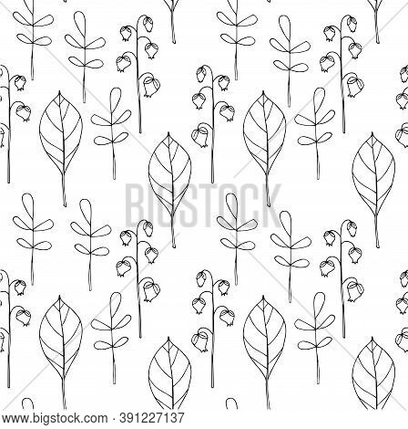 Outline Leaves On White Seamless Background. Botanical Endless Pattern For Fabric Print, For Wallpap